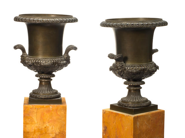 A pair of 19th century French patinated bronze and Sienna marble garniture vases (2)