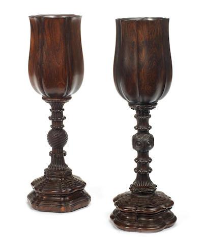 A pair of German rosewood Kunstkammer cups