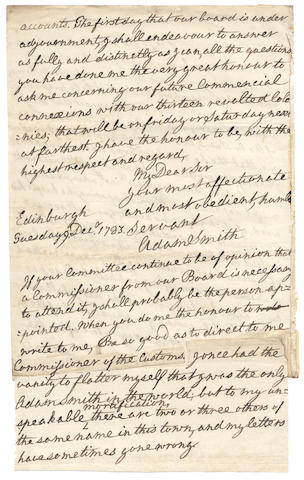 "SMITH (ADAM) Autograph letter signed (""Adam Smith""),  Edinburgh, Tuesday, 9 December 1783"
