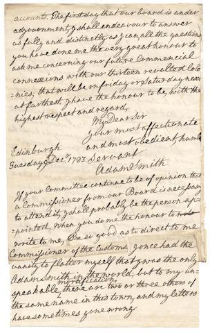 "SMITH (ADAM) Autograph letter signed (""Adam Smith""),  Edinburgh, Tuesday, 9 December 1783"