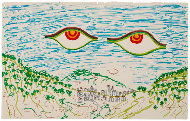 The Beatles: A drawing of 'Two Eyes' by George Harrison, 1968,