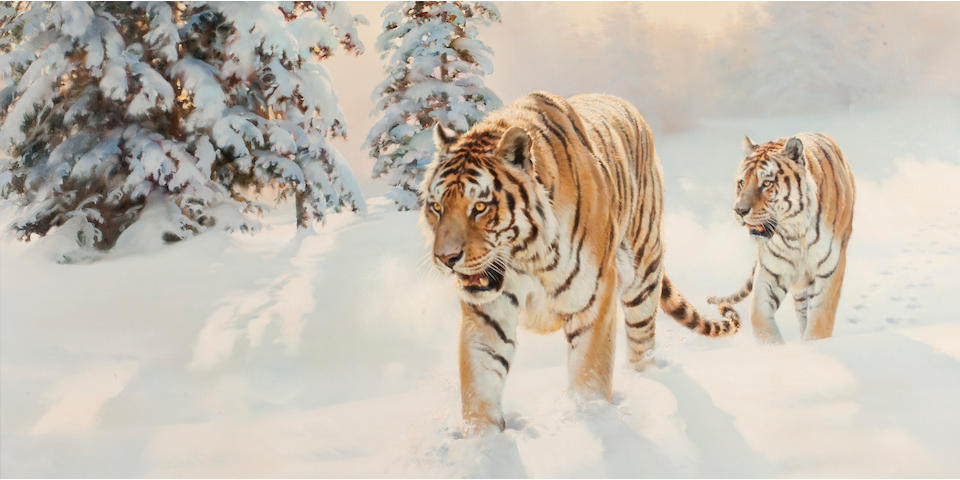 Donald Grant (British, 1942-2001) Two Siberian Tigers in Snowy Landscape