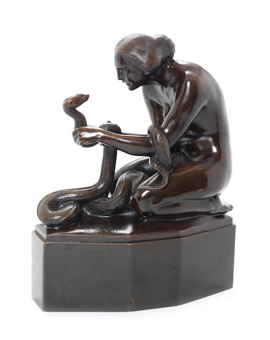 Bruno Zach 'Woman with Serpent' a Powerful Patinated Bronze Study, circa 1920