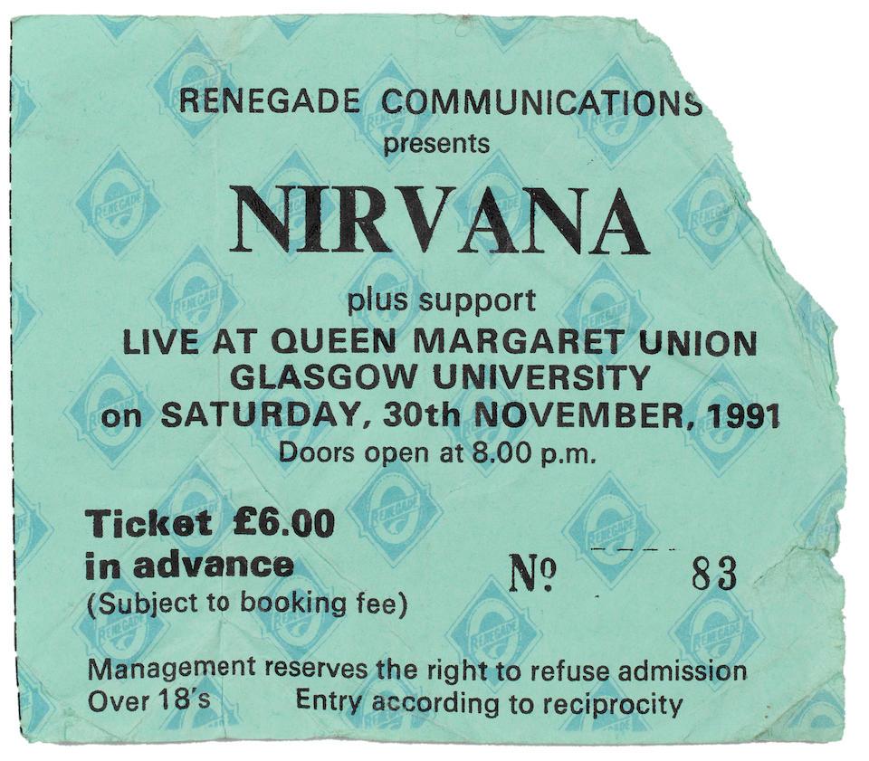 Nirvana/Dave Grohl/Kurt Cobain: A handwritten set list in Dave Grohls hand used by Kurt Cobain, at the Queen Margaret Union, Glasgow, on 30th November, 1991, 2