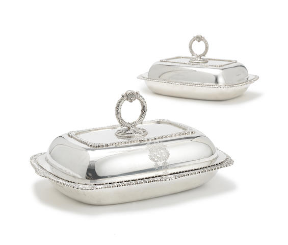 A pair of George III silver entrée dishes and covers probably by William Stroud, London 1814 (2)