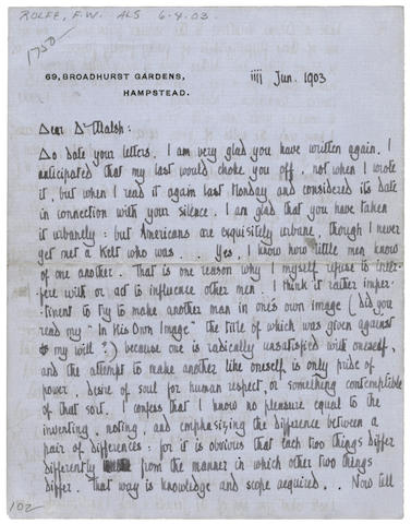 "ROLFE (FREDERICK WILLIAM) 'Baron Corvo' Autograph letter signed (""Rolfe""), to James Walsh, discussing at length his ""Divine Vocation"", relations with his Jesuit superiors, and interest in prognostic astrology, 69 Broadhurst Gardens, Hampstead, 3 June 1903"