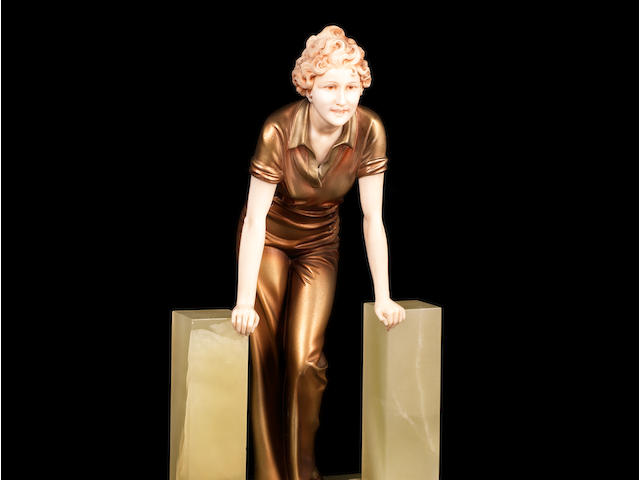 Ferdinand Preiss 'The Stile' an Art Deco Patinated Bronze and Carved Ivory Figure, circa 1925