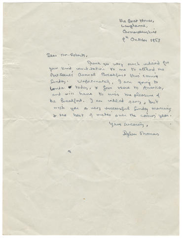 """THOMAS (DYLAN) Autograph letter signed (""""Dylan Thomas""""), to Clifford Roberts, The Boat House, Laugharne, Carmarthenshire, 9 October 1953"""
