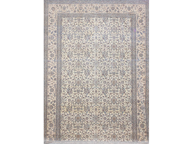 A large Nain part silk carpet, Central Persia, 744cm x 494cm