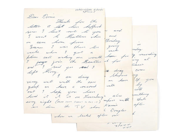 Ringo Starr / Rory Storm And The Hurricanes / The Beatles: A series of five autograph letters from Ringo Starr to a girlfriend, each signed, October 1961 - October 1962,