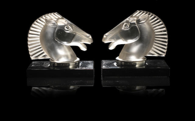 René Lalique (French, 1860-1945) 'Longchamp' a Pair of Bookends, design 1929