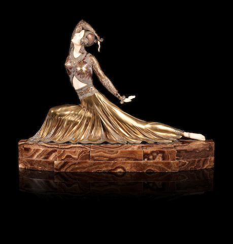 Demetre Chiparus 'Clara' a Large Art Deco Cast Bronze and Carved Ivory Study of a Dancer from the Ballet Russes, circa 1925