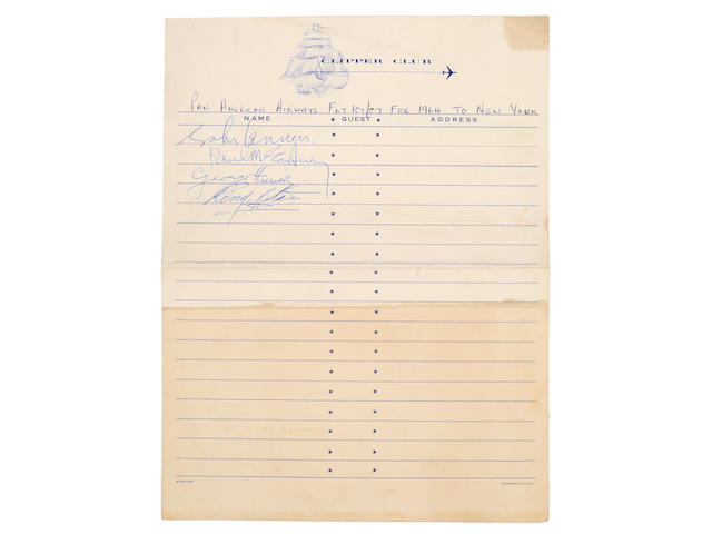 The Beatles: A set of autographs on Pan Am stationery, obtained on the Beatles' historic flight to New York for their first US visit, 7th February 1964,