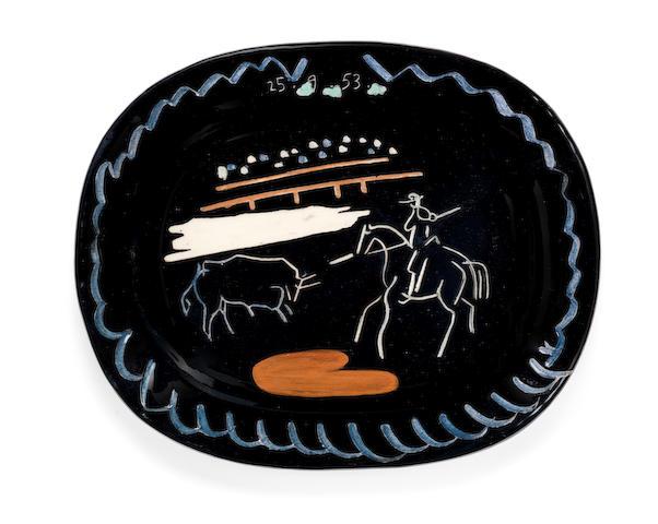 Pablo Picasso (Spanish, 1881-1973) Corrida sur fond noir 38cm (14 15/16in) long