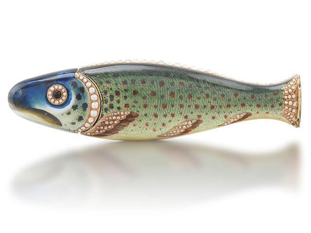A fine and rare late 18th/early 19th century Swiss gold, enamelled and split pearl novelty fish combined sealing wax case and vinaigrette with cock's head restricted warranty marks for 1798-1809