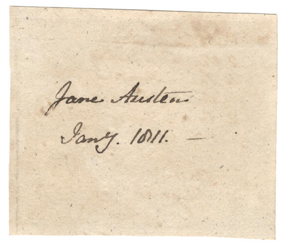 "AUSTEN (JANE) Signature (""Jane Austen""), January 1811"