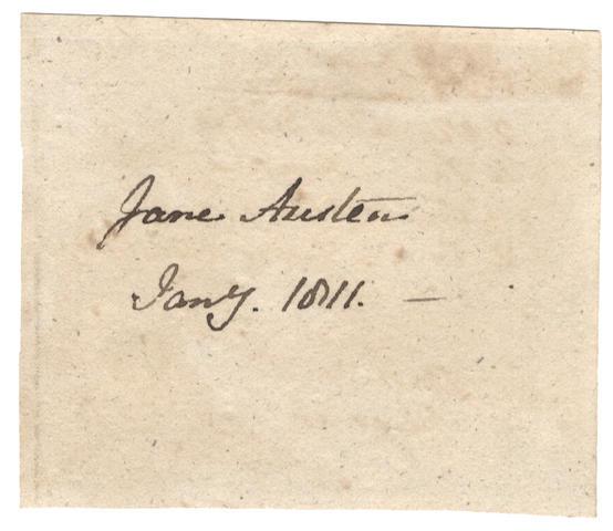 "AUSTEN (JANE) Signature (""Jane Austen""), January 1811"