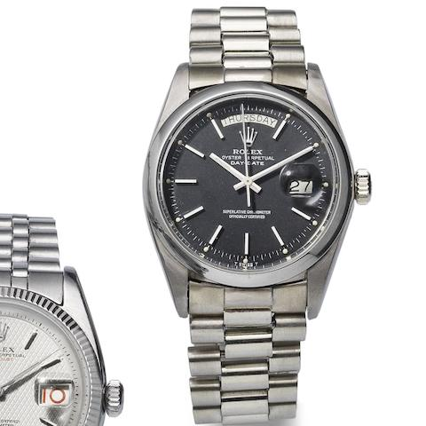 Rolex. An 18ct white gold automatic calendar bracelet watch Day-Date. Ref:1803, Serial No.522****, Circa 1977