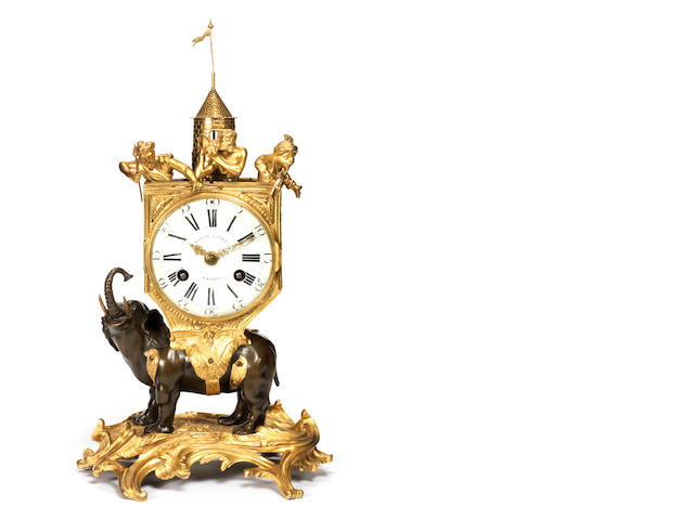An important French mid-18th century gilt and patinated bronze pendule à l'éléphant signed Bailly L'aîné, Paris