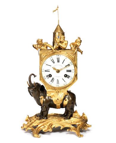 An important French mid-18th century gilt and patinated bronze pendule à l'éléphant signed Bailly L'aîné, Paris