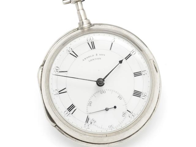 John Arnold. A fine and rare silver open face chronometer pocket watch owned by the Horologist and Naval Commander Captain Jauncey No.21, Circa 1775