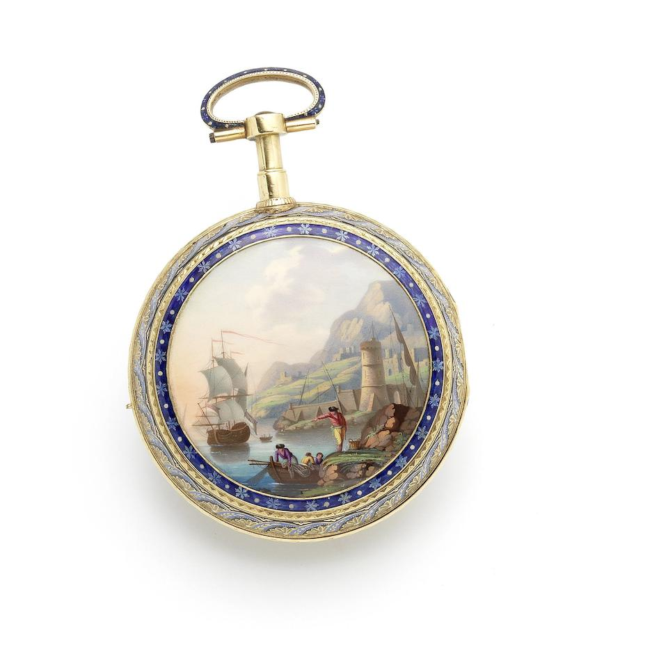 Swiss. A magnificent and very rare gold and enamel, centre-seconds, musical automaton watch with carillon on five bells and five hammers, and enamel back painted in the manner of Jean-Louis Richter   Watch attributed to John Rich, Circa 1795