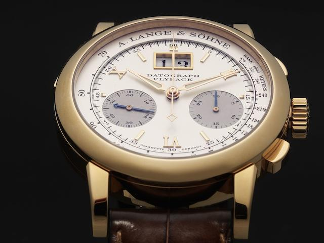 A. Lange & Söhne. A fine 18ct rose gold manual wind calendar chronograph wristwatch Datograph Flyback, Case No.154472, Movement No.57086, Sold January 2007