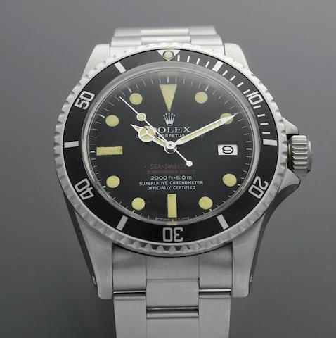 Rolex. A stainless steel automatic calendar bracelet watch  'Double-Red' Sea-Dweller, Ref:1665, Serial No.311****, Sold March 1971