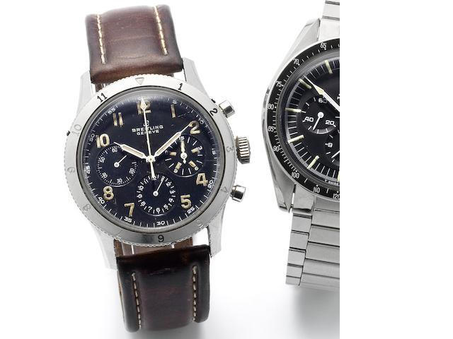 Breitling. A stainless steel manual wind chronograph wristwatch made for the French Air Force Ref:765 AVI, Circa 1950