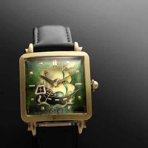 Eska. A rare 18ct gold automatic square wristwatch with centre seconds and cloisonné enamel dial 'Galleon,' Case No.146851, Circa 1950