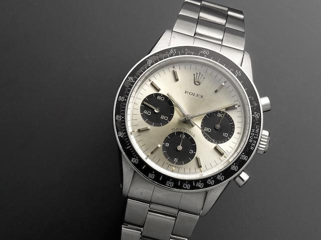 Rolex. A fine and rare stainless steel manual wind chronograph bracelet watch Cosmograph Daytona, Ref:6262/6264, Serial No.241**** Circa 1971