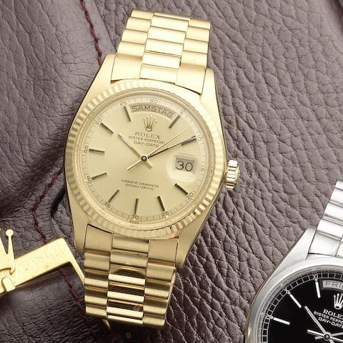Rolex. An 18ct gold automatic calendar bracelet watch Oyster Perpetual Day-Date, Ref:1803, Serial No.5016***, Sold 20th August 1977