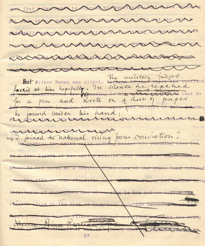 CONRAD (JOSEPH) Working typescript, with extensive autograph revisions throughout, of Conrad's tale of hearsay, 'Prince Roman', [1911]