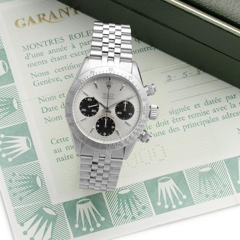 Rolex. A fine and rare stainless steel manual wind chronograph wristwatch with punched papers and Rolex box Daytona, Ref:6265, Serial No.932***, Sold 2nd May 1986