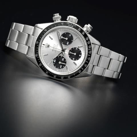 Rolex. A fine stainless steel manual wind chronograph bracelet watch Cosmograph Daytona, Ref:6263, Serial No.5529***, Circa 1977