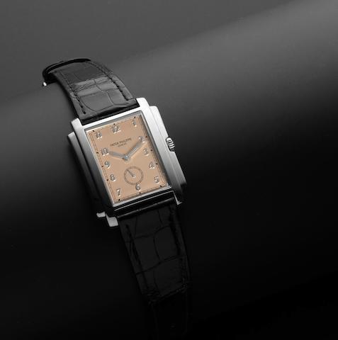 Patek Philippe. A fine 18ct white gold manual wind rectangular wristwatch Ref:5024, Case No.4035189, Movement No.1864533, Circa 2000