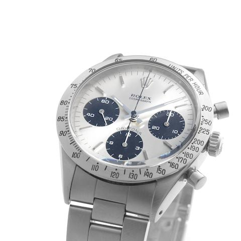 Rolex. A fine stainless steel manual wind chronograph bracelet watch Cosmograph, Ref:6239, Serial No.1463***, Circa 1965