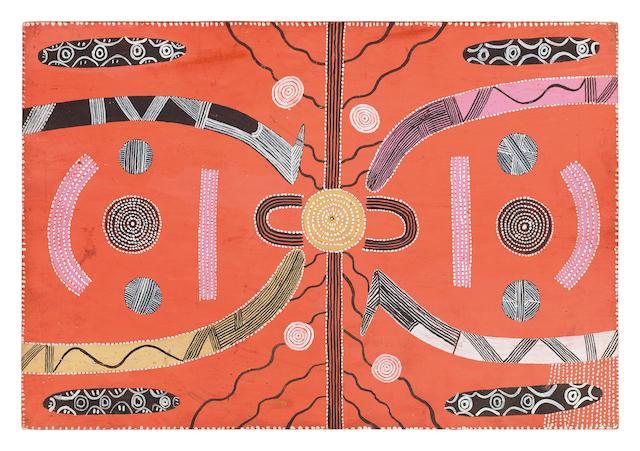 Kaapa Mbitjana Tjampitjinpa (born circa 1920-1989) Two Men's Travelling Dreaming, c.1973