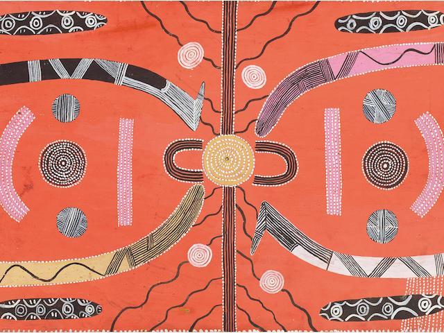 Kaapa Mbitjana Tjampitjinpa (born circa 1920-1989) Two Men's Travelling Dreaming, c.1973