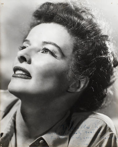 Katherine Hepburn: A signed black and white publicity still,