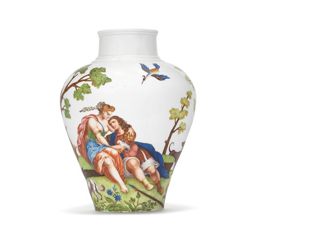 An important Vezzi vase painted by Ludovico Ortolani, circa 1725