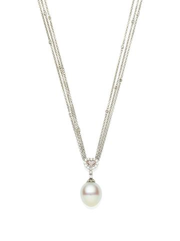 An important cultured pearl, coloured diamond and diamond pendent necklace, by Paspaley