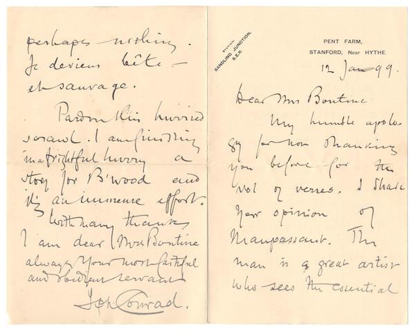 "CONRAD (JOSEPH) Autograph letter signed (""Jph Conrad""), to the Hon Mrs Bontine, Robert Bontine Cunninghame Graham's mother, Pent Farm, 12 January 1899"