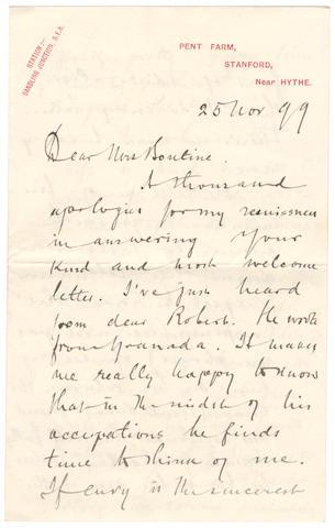 "CONRAD (JOSEPH) Autograph letter signed (""Joseph Conrad""), to Mrs Bontine, Pent Farm, 25 November 1899"