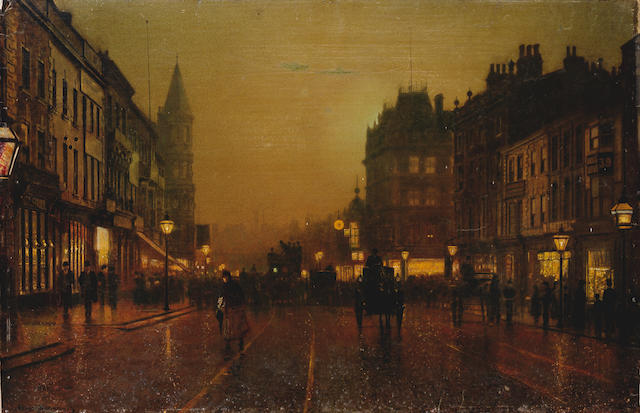 John Atkinson Grimshaw (British, 1836-1893) View of Briggate with Dyson's clock in the background, Leeds