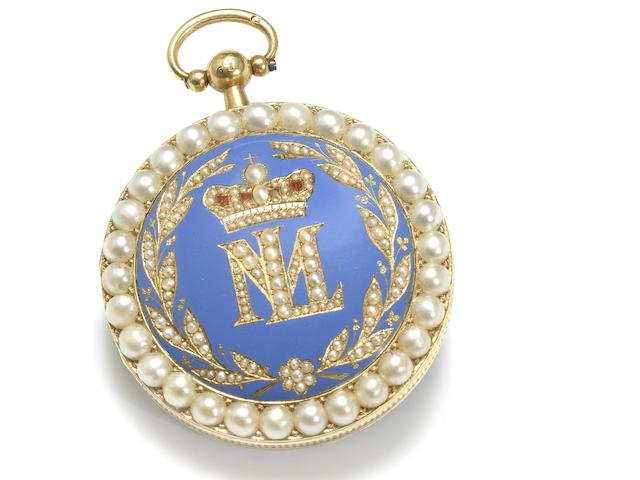 The Empress Marie-Louise of France Pocket Watch A very fine, rare and historically important gold, enamel and split pearl decorated pocket watch bearing the cipher ML within a laurel crown. Presented by Empress Marie-Louise at the opening of Cherbourg harbour in 1813 to Emilie de Pellepra