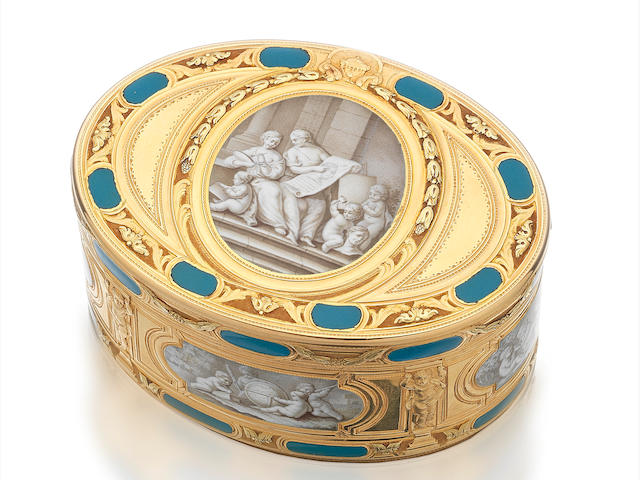 A Louis XV vari-coloured gold and enamelled snuff box by Jean-Joseph Barrière, Paris 1771, the rim stamped 724