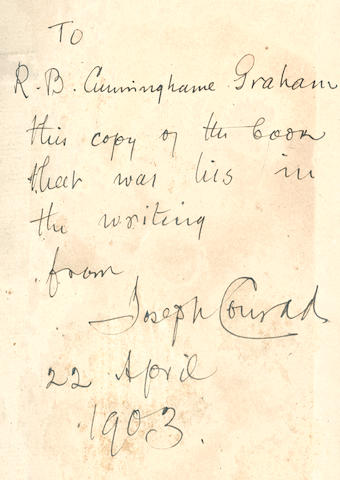"CONRAD (JOSEPH) The dedication copy of Typhoon and Other Stories, bearing his autograph inscription: ""To R.B. Cunninghame Graham, 1903"