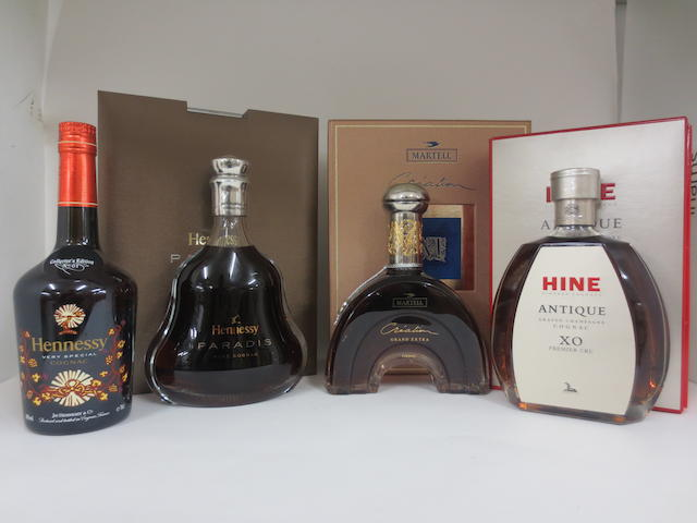 Hennessy Paradis Rare Cognac (1 decanter) Hennessy Very Special Cognac, Collector's Edition No. 1 (1 ) Martell Creation Grand Extra Cognac (1 decanter) Hine Antique Grande Champagne Cognac XO Premier Cru (1 decanter)