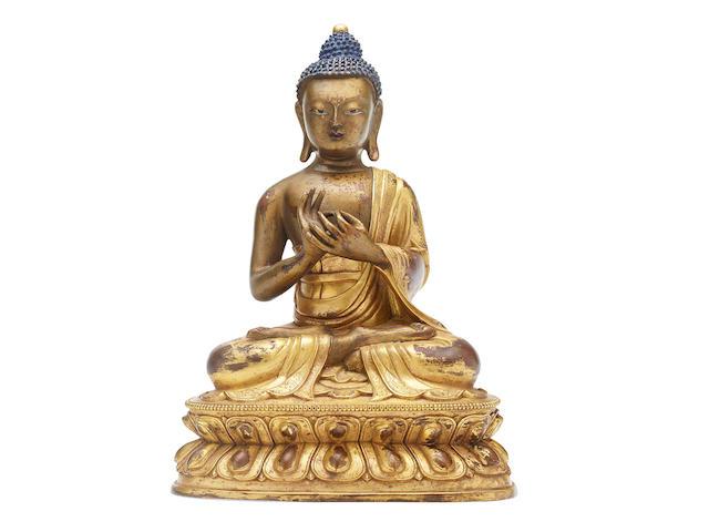A gilded bronze Shakyamuni